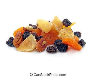 mezcla, fruta, secado