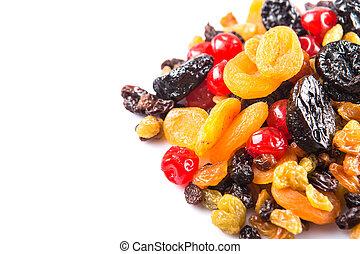 mezcla, fruta, secado, variedad