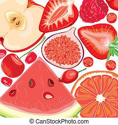 mezcla, frutas rojas, y, bayas