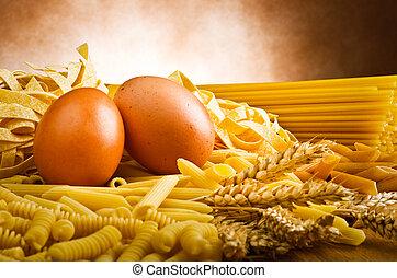 mezcla, grupo, de, italiano, pastas, en, el, madera, tabla