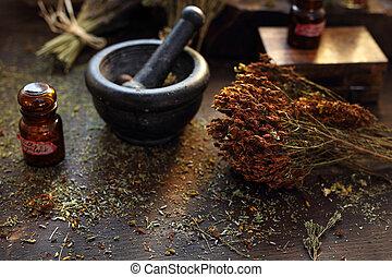 mezcla, mortero, herbology, medicina, herbario, preparando