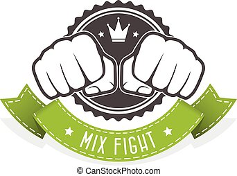 mezcla, pelea, club, emblema, -, dos, puños