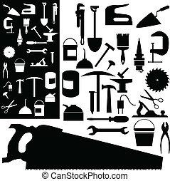 mezcla, siluetas, vector, herramientas