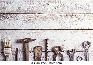mezcla, trabajo, herramientas