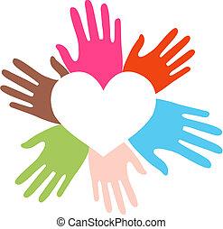 mezclado étnico, amor, manos