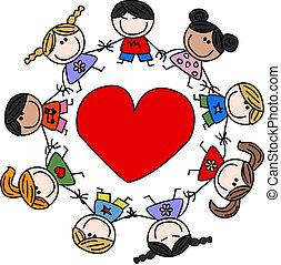 mezclado étnico, feliz, niños, amor
