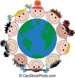 mezclado étnico, feliz, niños