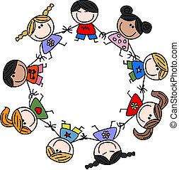 mezclado étnico, niños, amistad