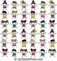 mezclado étnico, niños, seamless, patrón
