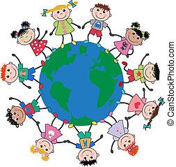 mezclado étnico, niños y niñas