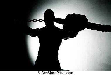mezclado, artes marciales, hombre