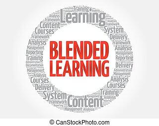 mezclado, círculo, palabra, aprendizaje, nube