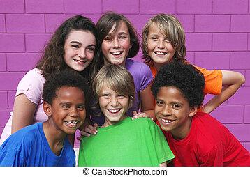 mezclado, diverso, carrera, grupo, niños
