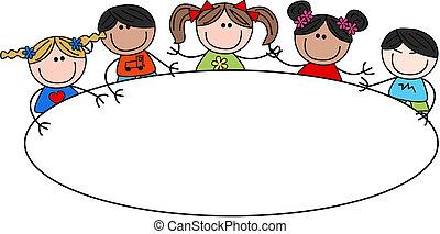 mezclado, encabezamiento, niños, étnico