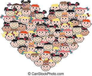 mezclado, etnic, amor, niños