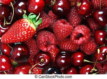 mezclado, fruta fresca