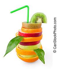 mezclado, fruta tropical