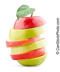 mezclado, manzana, fruta