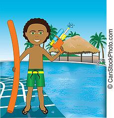 mezclado, niño, afro, piscina