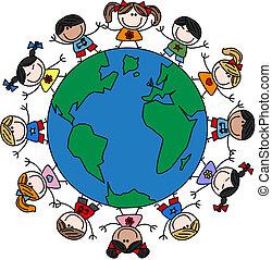 mezclado, niños, étnico, feliz