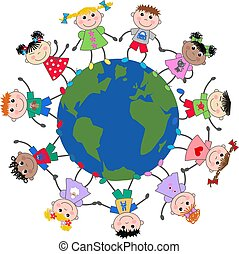 mezclado, niños, étnico