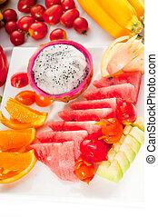 mezclado, plate de, fresco, cortar, fruits