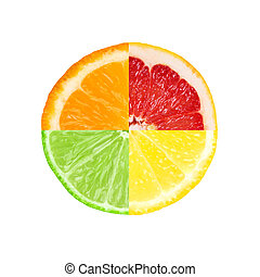 mezclado, rebanada, de, fruta cítrica