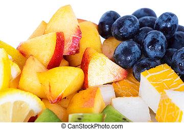 mezclado, rebanada, de, fruta