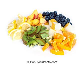 mezclado, rebanada, fruta