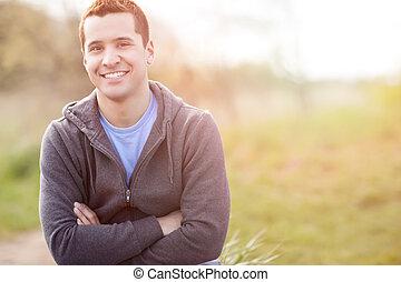 mezclado, sonriente, carrera, hombre