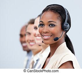 mezclado, ventas, empresa / negocio, representante
