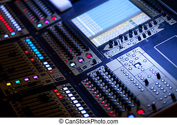 mezclar, grande, audio, consola