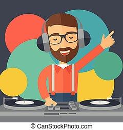 mezclar, jinete, disco, music.
