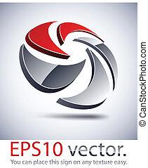 mezclar, logotipo, icon., moderno, 3d