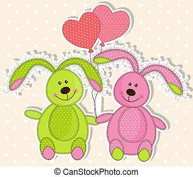mezei nyúl, szerelmes pár, két