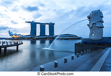 mezník, merlion, východ slunce, singapore