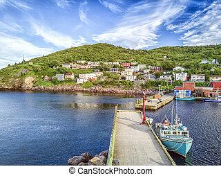 mezquino, puerto, con, dos, muelles, durante, verano, ocaso, terranova, canadá