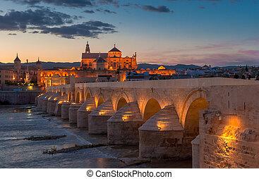 mezquita, catedral, e, ponte romana, cordoba, espanha