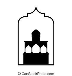 mezquita, decoración, monocromo, ramadan, kareem