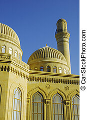 mezquita, moderno, baku, azerbaiyán, minarete