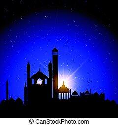 mezquita, siluetas, contra, cielo de la noche