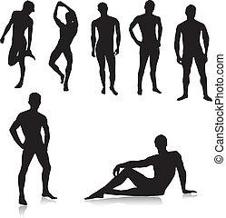 meztelen, hím, silhouettes.vector