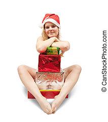 meztelen, leány, noha, ajándék, dobozok