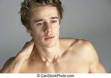 meztelen, portré, fiatalember