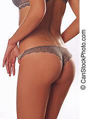 meztelen woman, alatt, egy, bikini
