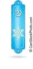 Mezuzah case on white background - Blue Mezuzah case with...