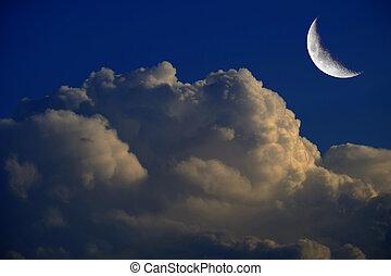 mezzaluna, notte, nubi, billowy, luna