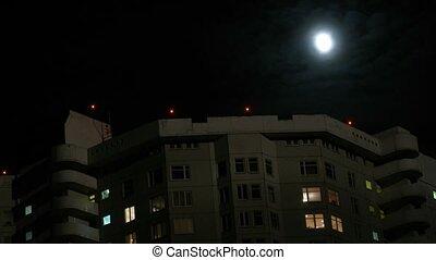 mezzanotte, luna, su, casa