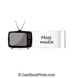 mezzi di comunicazione di massa, icona, vettore