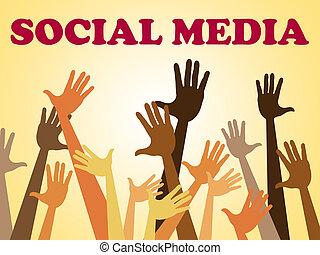 mezzi, media, sociale, insieme, facebook, mani